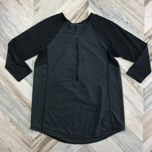 Lululemon Clip In Long Sleeve HalfZip Black Grey 6